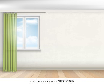 Interior of empty room. Window with green curtains on the beige wall.