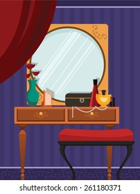 Interior of female boudoir with mirror on violet  wall and dressing table with perfume bottles and vase on it.