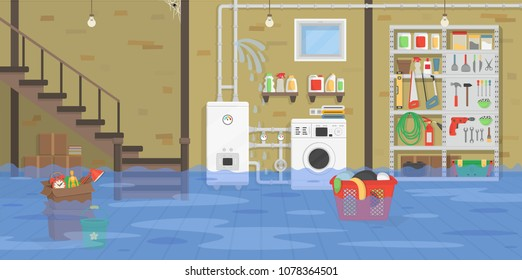 Interior flooded basement with boiler, washer, stairs, shelf with tools. Broken water pipeline with leakage. Vector illustration of flat cartoon style.