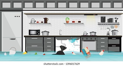Interior flooded basement flooring of kitchen with leaky pipeline, vector illustration.