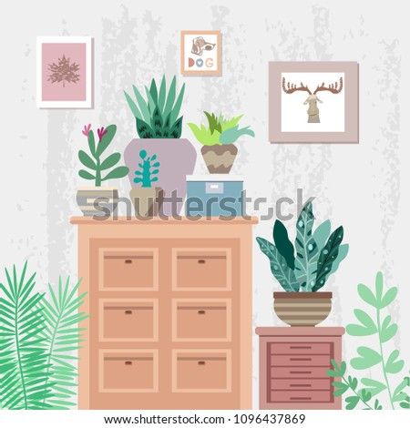 Interior Flowers Cactus Tropical Flowers Flowerpots Stock Vector Enchanting Apartment Design Painting