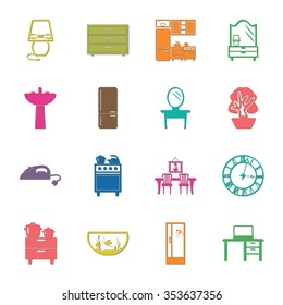 interior, furniture 16 icons universal set for web and mobile flat