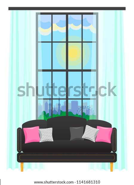 Interior Furniture Apartment Large Window Luxurious Stock ...