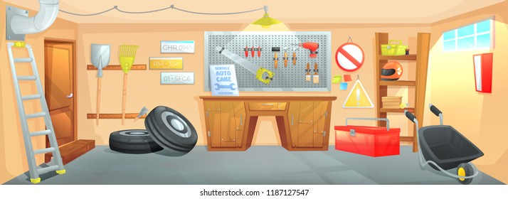 The interior of the garage. Workplace of the master on car repair with working tools. Vector cartoon illustration