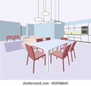 Interior of the general room with a dining table and a sofa