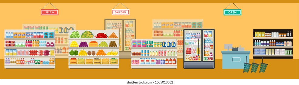 The interior of a grocery supermarket and store with shelves and products, sale and cash desk, food and drinks. Flat vector supermarket and shop illustration.