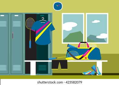 Interior of a gym locker room. Badminton Sport Fitness club dressing room and mountain view. Vector illustration in flat style.