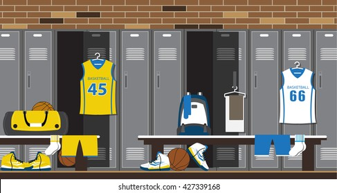 Interior of a gym locker room. Basketball Sport Fitness club dressing room with brick wall. Vector illustration in flat style.