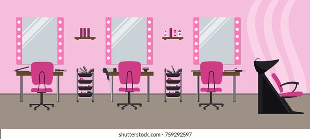 Interior of a hairdressing salon in a pink color. Beauty salon. There are tables, chairs, a bath for washing the hair, mirrors, hair dryer, combs and other objects in the image. Vector illustration