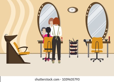 Interior of a hairdressing salon in a yellow color. Beauty salon. There is a hairdresser and a client in the hall. There are tables, chairs, a bath for washing the hair, mirrors, hair dryer here
