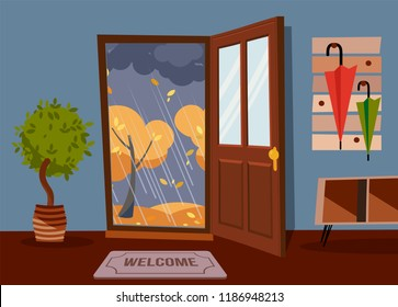 The interior hallway with the door open, a coat rack with umbrellas and house tree. Outside autumn rainy evening and yellow trees. Wall with little table for keys. Flat cartoon vector illustration.