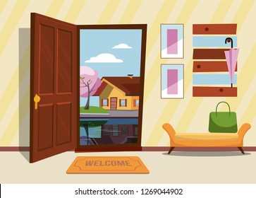 The interior hallway with the door open, a coat rack with umbrellas and sleeping dog and a cat on the suitcases. Outside very night and yellow trees. Flat cartoon style vector illustration.