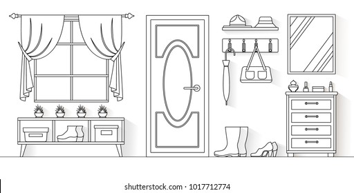 Interior of the hallway in a linear style. Vector illustration. Anteroom outline.
