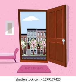 interior of hallway with open wood door overlooking sping cityscape with houses and blooming trees. Furniture inside Soft bench, picture, mat against a textured wall. Flat cartoon vector illustration