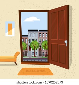 Interior of hallway with open wood door overlooking summer cityscape with houses and green trees. Furniture inside Soft bench, picture, mat against a textured wall. Flat cartoon vector illustration.