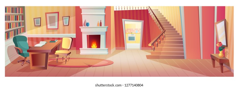 Interior of hallway of room with furniture, accessories. Interior of apartment with wardrobe, mirror, bedside table with flower, front view stairs, fireplace, workplace. Illustration in cartoon style.
