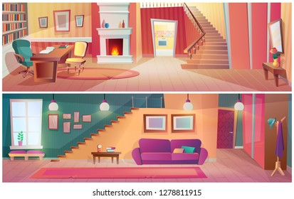 Interior hallway of room with furniture, accessories, apartment stairs. Interior of living room with wardrobe, mirror, bedside table with flower, staircase to top, burning fireplace. Cartoon vector.