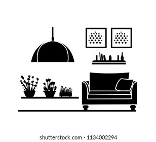 interior home. black silhouette furniture design. modern