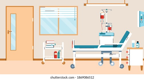 Interior of a hospital room with a bed and medical equipment for first aid and treating ill patients. Banner for concept of medicine and health care. Vector illustration.