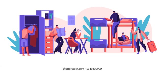 Interior Hostel for Student. Place for Living, Sleeping and Studying in Academic Year. Alternative Home for Character. Locate in Room Bed, Table and Cupboard. Flat Cartoon Vector Illustration