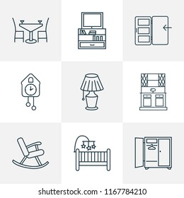 Interior icons line style set with tv stand, buffet, wall clock cot elements. Isolated vector illustration interior icons.