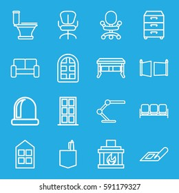 interior icons set. Set of 16 interior outline icons such as sofa, plan, window, door, toilet, office room, office chair, table lamp, nightstand, fireplace, gate, office desk