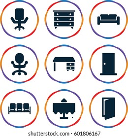 interior icons set. Set of 9 interior filled icons such as restaurant table, sofa, door, nightstand, office desk