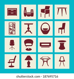 Interior Icons Set of design elements - Modern Furniture Silhouettes