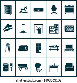 Interior icons set with louvers, ottoman, coffee table and other bar chair elements. Isolated vector illustration interior icons.