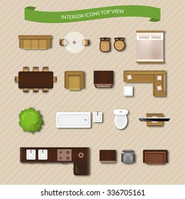Interior icons top view with sofa armchair couch isolated vector illustration