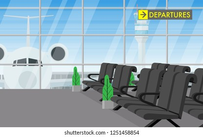 Interior inside the airport terminal with long chair in waiting departure area and view of airplane parking outside termianl