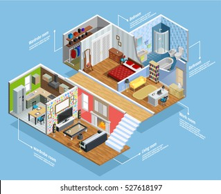 Interior isometric composition with furniture rooms and comfort symbols vector illustration