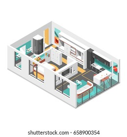 Interior isometric design with  living room, bedroom, bathroom and kitchen vector illustration