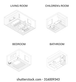 Interior isometric vector rooms. Line drawings of living room with kitchen, bedroom, children's room and bathroom.