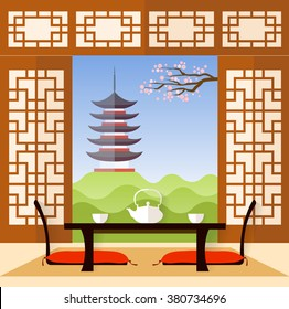 Interior in the Japanese style. living room in a flat style. Vector illustration. The room for the tea ceremony.