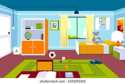 L'intérieur de la chambre des enfants de la maison avec moquette et fenêtre, mobilier et lit, jouets et table en dessins animés. Chambre, salle de jeux d'un enfant et d'un garçon. Illustration vectorielle d'une chambre pour enfants.