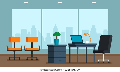 Interior of a large bright office with a large window and a panorama of the city. Flat vector illustration. Boss office
