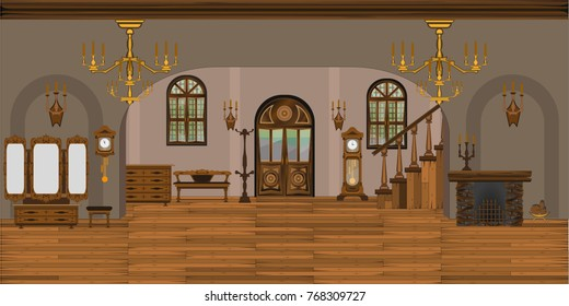 Interior Large Living Room Old Style Stock Vector Royalty Free