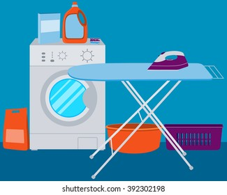 Interior laundry. Washing machine and laundry detergent. Vector illustration