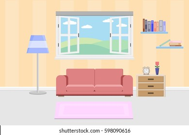 interior living design with window and furniture.vector and illustration
