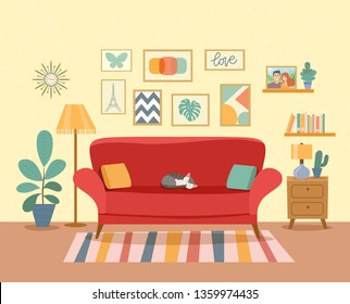 Interior living room with bookcase,sofa, houseplant. Vector flat illustration