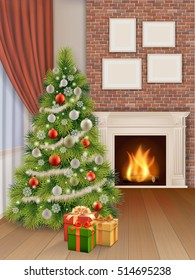 Interior of living room with fir tree, classic fireplace and gift boxes. Vector realistic illustration.