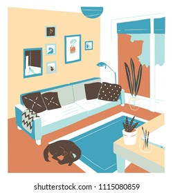 Interior of living room full of comfy furniture and home decorations - couch, table, house plants, carpet, wall pictures. Apartment furnished in Scandinavian style. Flat colorful vector illustration.