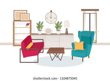 Interior of living room full of modern furniture - comfortable armchairs, coffee table, shelving with books, houseplants, lamp, wall pictures. Apartment furnished in hygge style. Vector illustration