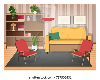 Interior of living room furnished with retro furniture and old-fashioned home decorations - cozy sofa, armchairs, shelving, house plants, lamp, carpet. Vector illustration in flat cartoon style.