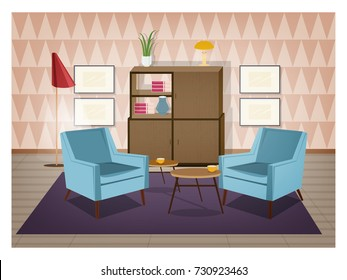 Interior of living room furnished in retro style. Old fashioned furniture and home decorations - armchairs, carpet, coffee table, sideboard, floor lamp, wall pictures. Cartoon vector illustration.
