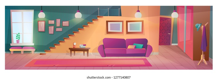 Interior living room with furniture, accessories. Interior of apartment with wardrobe hanger, sofa, desk, side view stairs to top, paintings, burning lamps. Illustration in cartoon style.