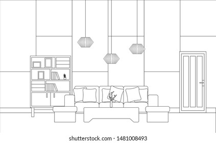 Interior of Living Room with furniture, Vector
