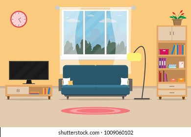 Interior living room modern cozy and luxury style with furniture in house.vector and illustration