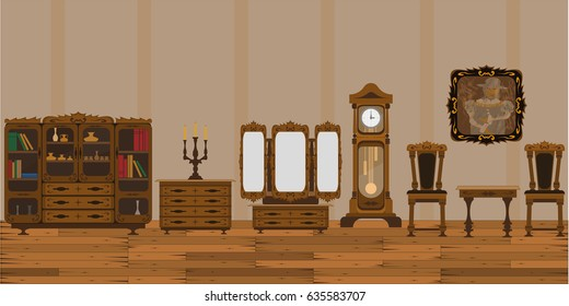 The interior of the living room is in an old style with insulated cupboards and furniture. Stylish vector illustration for web design
